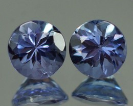5X5 MM  BLUISH VIOLET 100% NATURAL TANZANITE PAIR -TZ0033