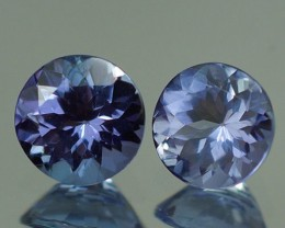 5X5 MM  BLUISH VIOLET 100% NATURAL TANZANITE PAIR -TZ0045