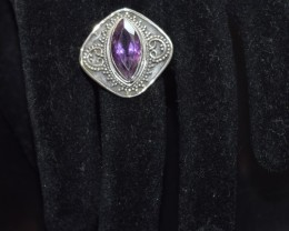 NATURAL AMETHYST RING 925 STERLING SILVER FREE SHIPPING