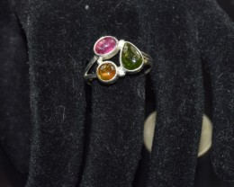 NATURAL TOURMALINE RING 925 STERLING SILVER FREE SHIPPING