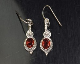 NATURAL GARNET SILVER EARRINGS 925 STERLING SILVER FREE SHIPPING