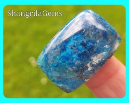30mm Azurite in Quartz from USA cushion shape 22.5ct 30 by 20 by 4mm