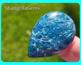 33mm Azurite Chrysocolla cabochon gemtone drop shape 32ct
