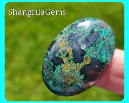 33mm Chrysocolla with hematite cuprite malachite oval 43ct 33 by 22 by 5mm