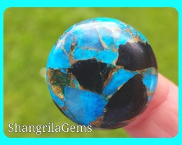 25 round blue mojave calcite cabochon 25 by 4mm