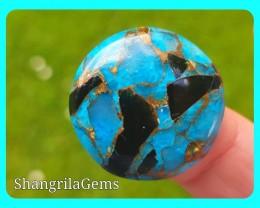 25mm blue mojave calcite cabochon round