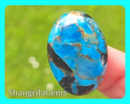 26mm blue mojave calcite cabochon oval