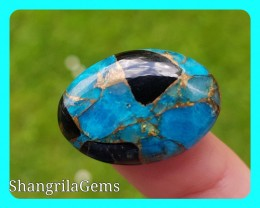 25mm blue mojave calcite cabochon oval