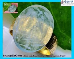 17.3mm Aquamarine Rose cut gemstone 7.3ct 17.3 by 13.65 by 5.2mm from Minas
