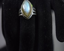 NATURAL LABRADORITE RING 925 STERLING SILVER