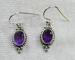 NATURAL AMETHYST SILVER EARRINGS 925 STERLING SILVER