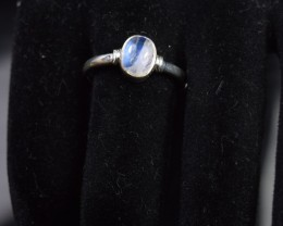 NATURAL RAINBOW MOONSTONE RING 925 STERLING SILVER