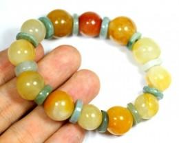 239.5Ct Natural Grade A Yellow/Green Color Jadeite Jade Bracelet
