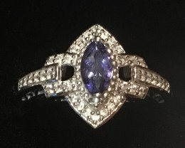 .50 Carat VVS Tanzanite Marquise Platinum over Sterling Silver Ring