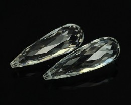 20.70 CTS DELUXE REAL WHITE TOPAZ PEAR BRIOLETTE CUT-NICE PAIR