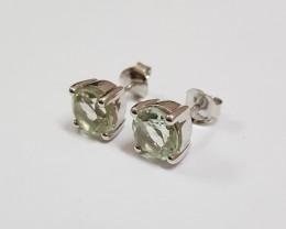 Green amethyst 925 Sterling silver earrings #7730