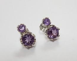 Amethyst 925 Sterling silver earring #7786