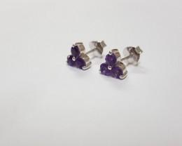 Amethyst 925 Sterling silver earring #7792