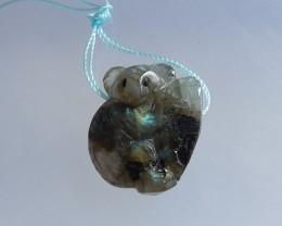 7.1g Custom Carved Labradorite Kola Bear Pendant(18051403)