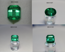 Emerald Lot with 3 Zambian emeralds and 1 Panjshir emerald