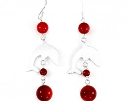 16ct Red Coral 925 Sterling Silver Dolphins Earrings