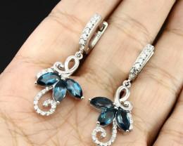 40ct London Blue Topaz 925 Sterling Silver Earrings