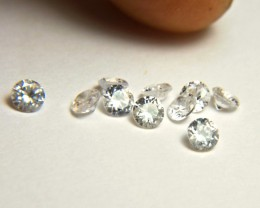 2.64 Carat VS White Southeast Asian Zircons - 3.5mm - 10pc.