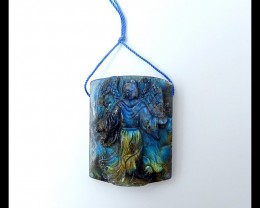 184ct  Beautiful Labradorite carved Angel Pendant(18051601)