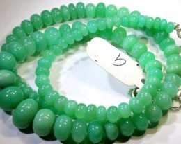140.45CTS CHRYSOPRASE BEADS STRAND NP-2427