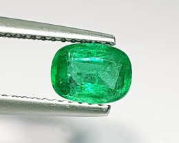 0.81 ct Stunning Luster Green Cushion Cut Natural Emerald