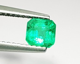 0.63 ct Fabulous Green Square Cut Natural Emerald