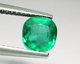 1.22 ct Exclusive Green Cushion Cut Natural Emerald
