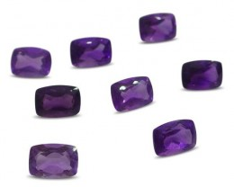 8 Stones - 7.84 ct Amethyst 7x5mm Cushion - $1 No Reserve Auction