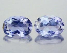 2.20 Cts Natural Violet Blue Iolite Oval Cut 2 Pcs Tanzanian Gem