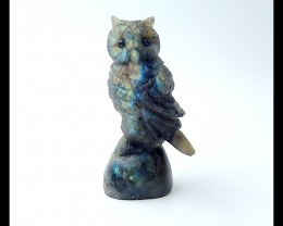 289.75ct High Quality Labradorite Carved Owl Decoration (18051904)