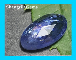 13mm 2.85ct Tanzanite Rose cut cabochon free form shape 13 by 7 by 3mm