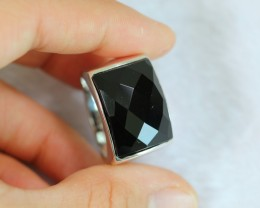 12.52g Natural Black Onyx 925 Sterling Silver Ring Sz12
