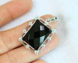 10.8g Natural Black Onyx 925 Sterling Silver Pendant