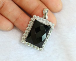 12.19g Natural Black Onyx 925 Sterling Silver Pendant
