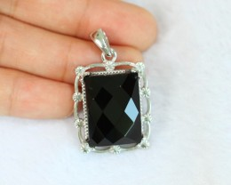 10.65g Natural Black Onyx 925 Sterling Silver Pendant