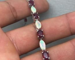 (B1) Delightful Nat 50.6tcw.  Ruby & Fire Opal Bracelet Heated