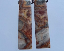7.7 Natural Crazy Lace Agate Earring Pair39x10x4mm(18052001)