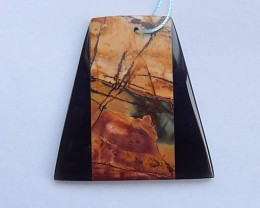 9.7g Natural Obsidian and Multi-Color Picasso Jasper Intarsia Pendant Beads