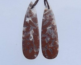 6.3g New Waterdrop Warring States Agate Earring Pairs 42x13x4mm(18052006)