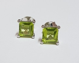 Peridot 925 Sterling silver earrings #7729