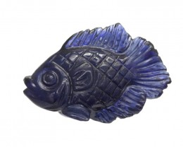 5.43cts Natural Australian Blue Sapphire Fish Carving