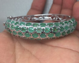 $1000 Mesmerizing Nat 113.3tcw. Brazilian Emerald Bangle Small size.