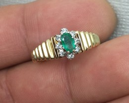 (B1) Brilliant $1200 Nat 0.35ct Colombian Emerald & Diamond Ring 10K YG