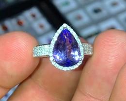 D-Block Tanzanite Diamond Ring - 14k White Gold - Size 7 1/4 $5000
