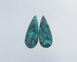 44.5Ct Natural Chrysocolla Water drop Earring Pair(18052101)